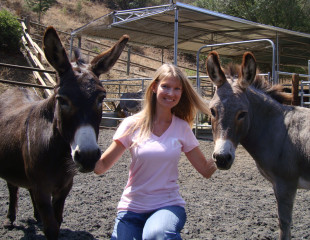 Lesley Sears with Millie & Bella
